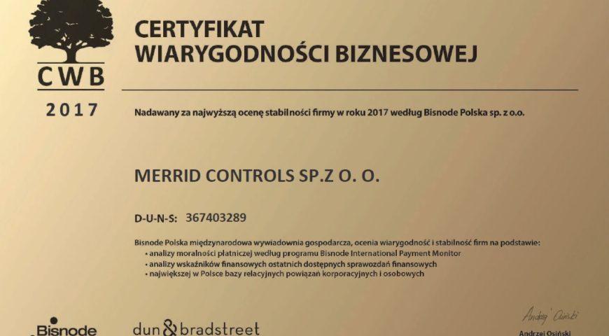 Bisnode Polska Certyfikat Wiarygodnosci Biznesowej