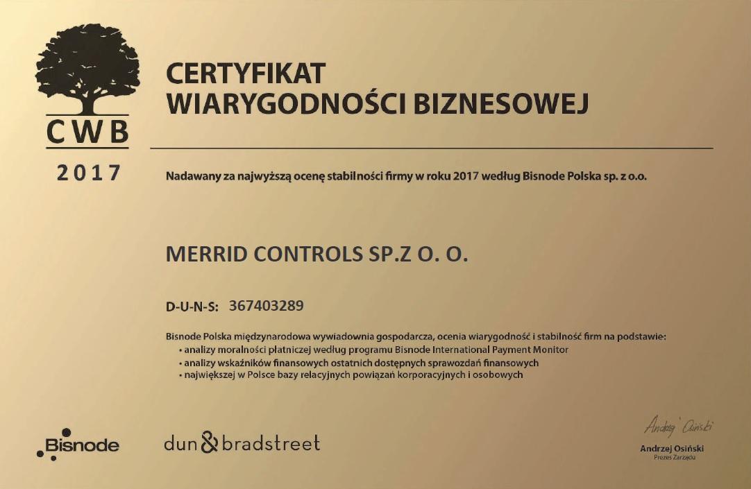 Bisnode Polska Certyfikat Wiarygodności Biznesowej 2017