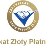 Euler Hermes Certyfikat Złoty Płatnik 2017
