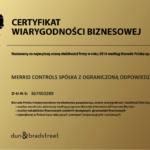 Bisnode Polska Certyfikat Wiarygodności Biznesowej 2018