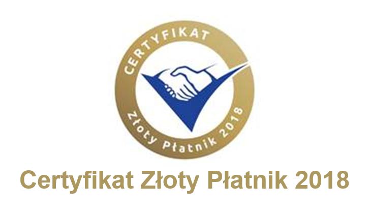 Euler Hermes Certyfikat Złoty Płatnik 2018